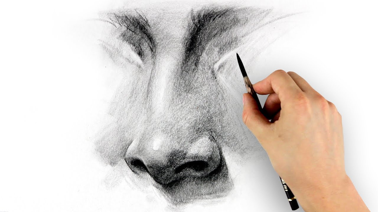 how to draw a simple nose from the front