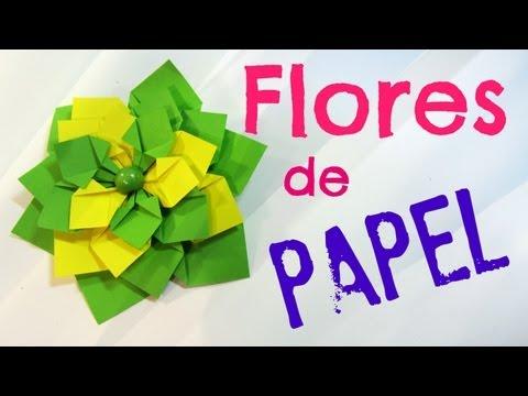 Tutorial: Flores de papel. Paper flowers. -ldNoSXc5nKQ