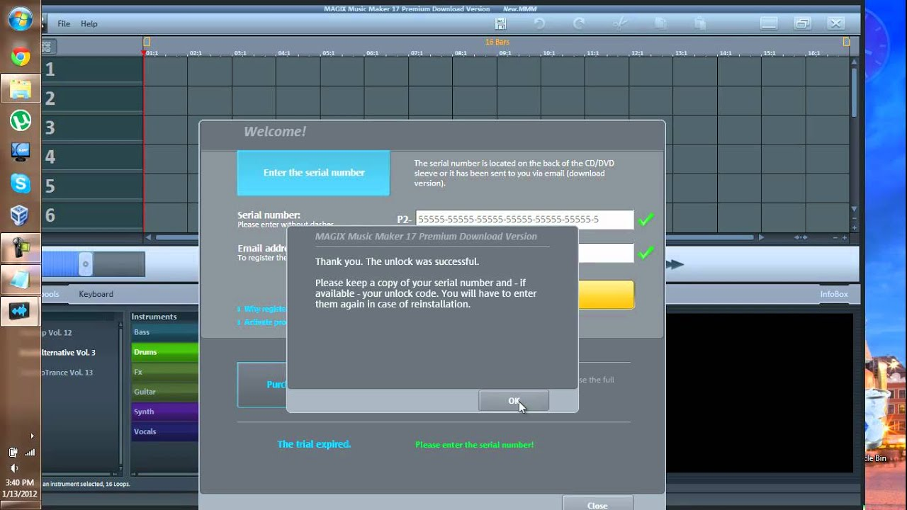 MAGIX Music maker 11 Deluxe serial key or number
