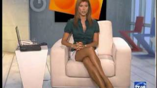 Sonia Ferrer White Short Skirt And Lovely Crossed Legs