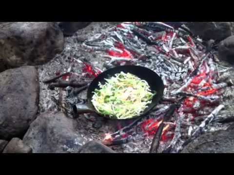 Campfire cooking sweet and sour chicken