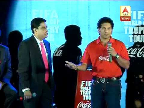 Sachin Tendulkar, Sourav Ganguly on world cup football as the trophy arrives calcutta.