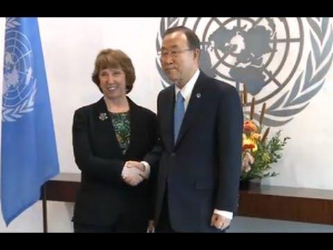 68th UNGA: Catherine Ashton meets UNSG, Ban Ki-Moon and US Secretary of State, John Kerry