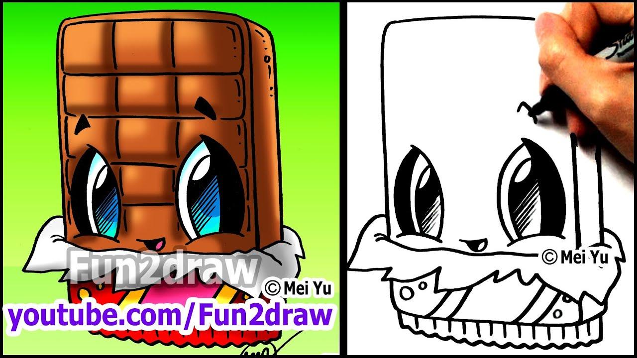 how to draw cute cartoons chocolate bar fun2draw