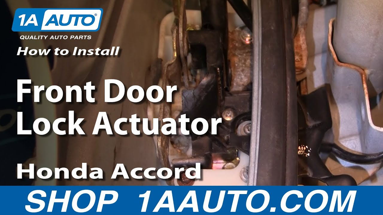 How To Install Replace Front Door Lock Actuator Honda Accord 94-97 1AAuto.com - YouTube