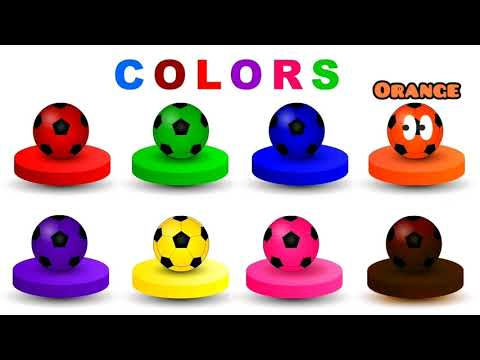 LEARN COLORS WITH FUNNY SOCCER BALLS FOR KIDS