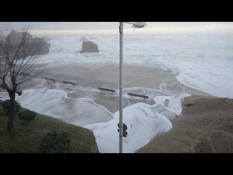 Biarritz beaches after violent storm hits - January 2014