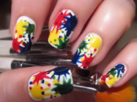 Paint Splatter Nails, - Paint Splatter Nails - Nail Designs Video