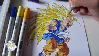 How To Draw Kid Goku Super Saiyan 3 SSJ3 孫 悟空 超