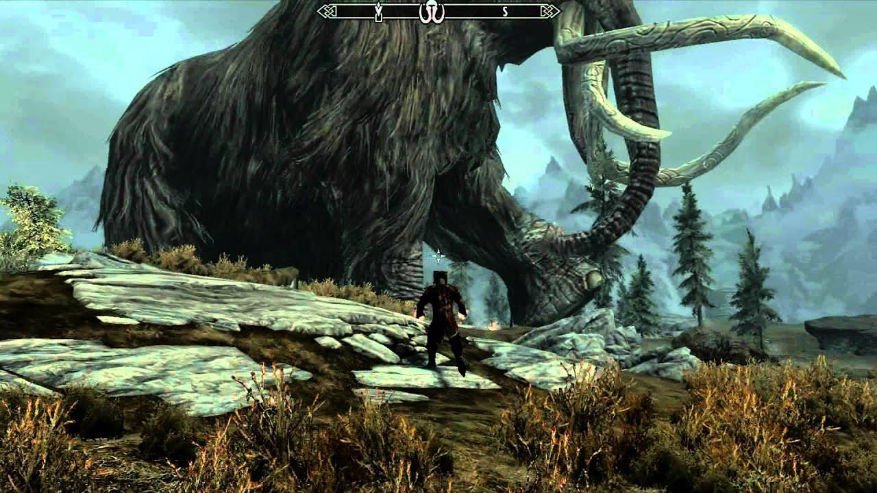 skyrim the giant mammoth youtube