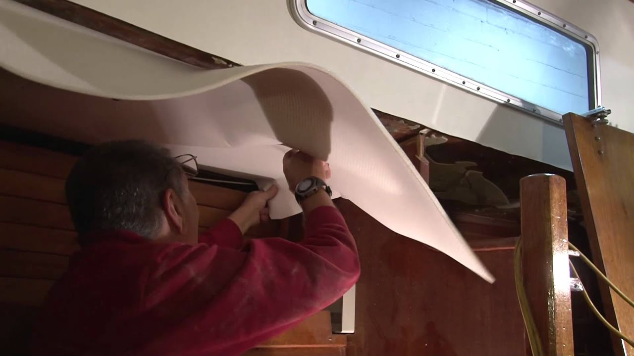Installing A Foam Backed Headliner In A Boat Youtube