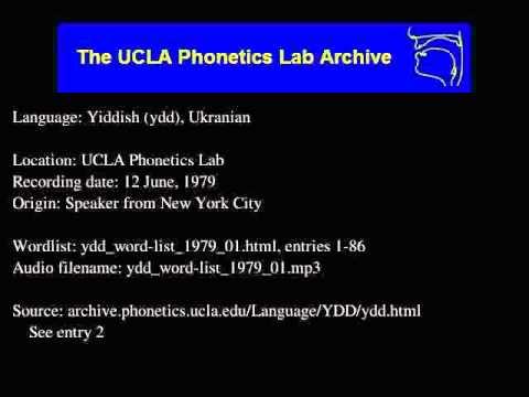 Yiddish, Eastern audio: ydd_word-list_1979_01