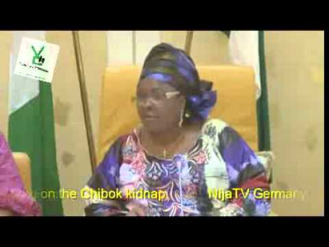 Mrs Goodluck Jonathan reacting on the Chibok kidnap