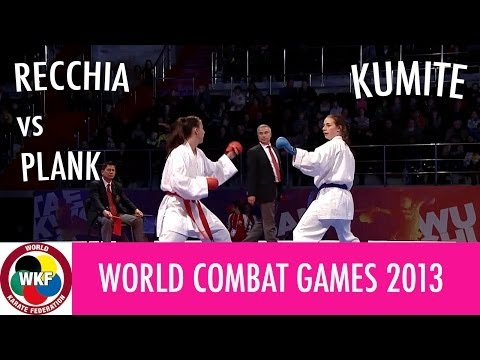 World Combat Games 2013. RECCHIA vs PLANK. Karate Women's Kumite -50kg. Bronze Medal Fight