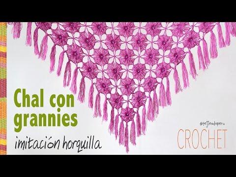 Chal (shawl) de granny imitación horquilla tejido a crochet - Tejiendo Perú!