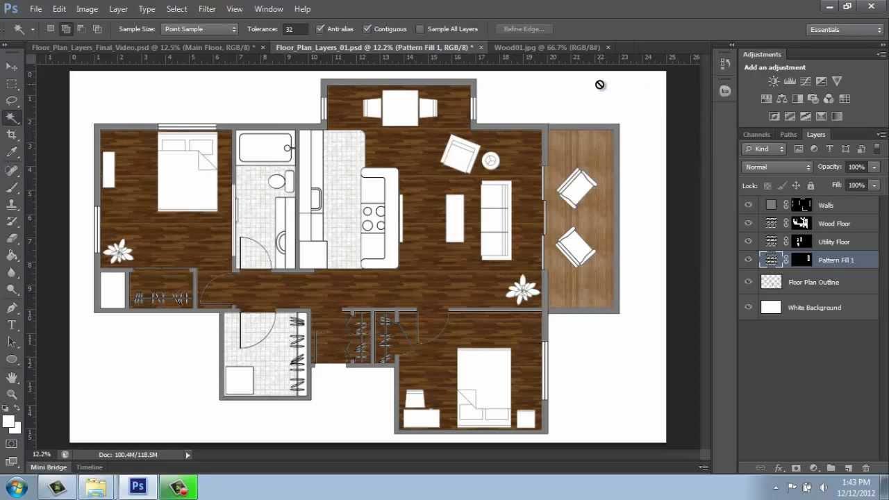 Adobe Photoshop Cs6 Rendering A Floor Plan Part 3