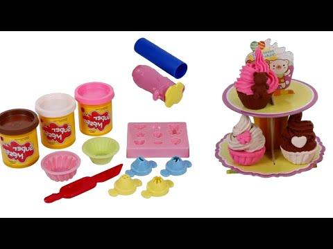 Playdough cupcakes - Bolinhos de massinha de modelar