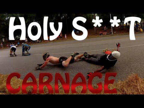 EPIC DownHill Longboard Race WORST Crash's Ever (Carnage On The Coast 2013)