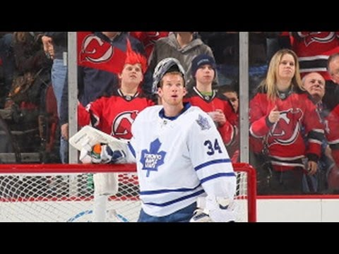 James Reimer makes a late paddle save on Jagr