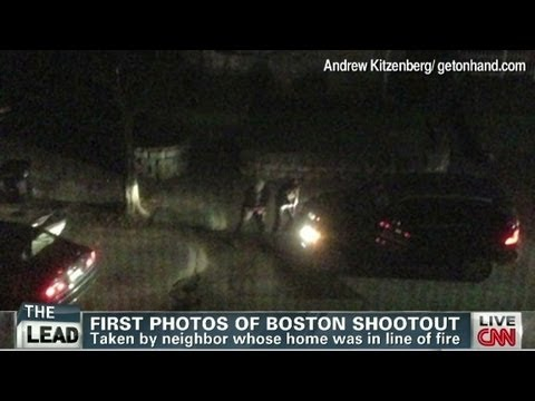 Neighbor photographs Boston boming suspects' shootout