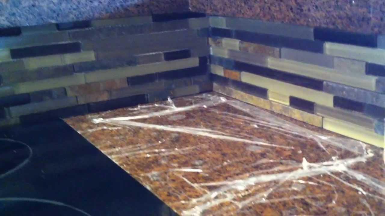 tile backsplash installing mosaic tile backsplash part 3 youtube