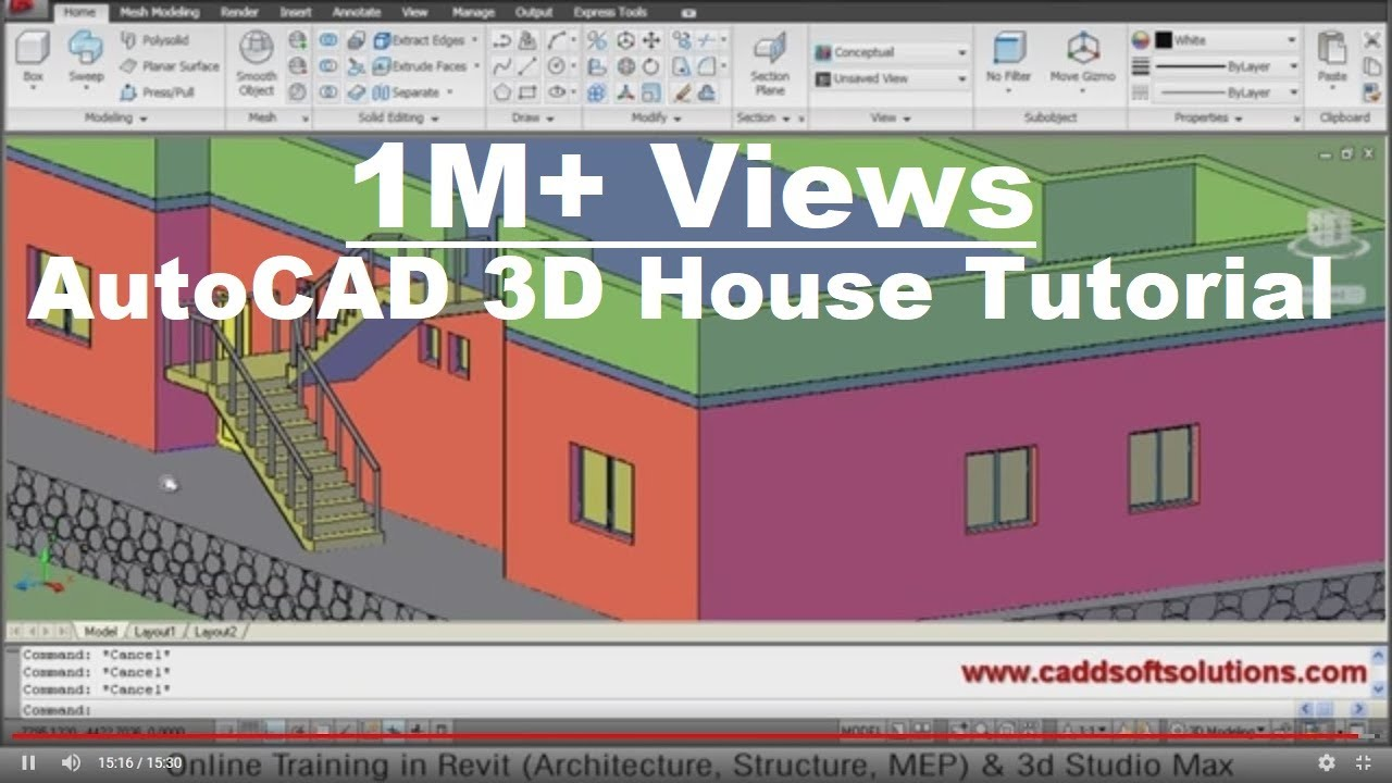 Autocad 3d house modeling tutorial 1 3d home design Software to make 3d house plan