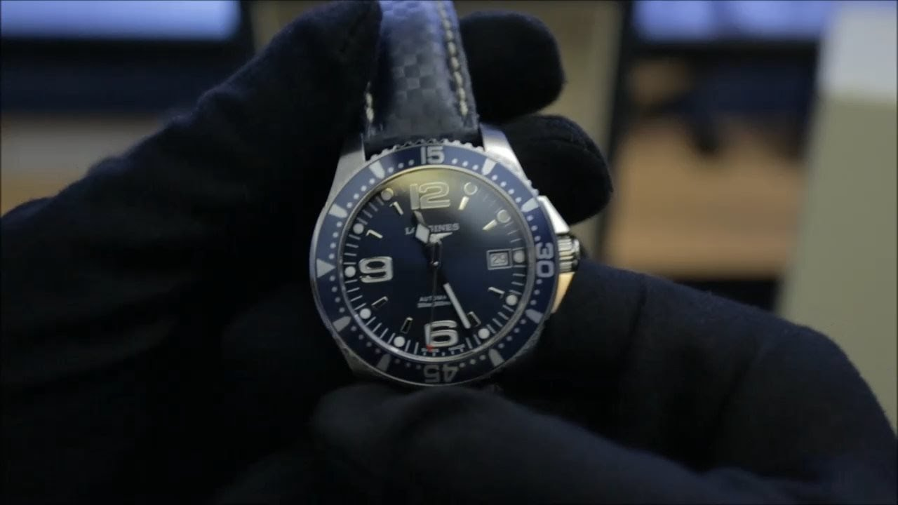 Longines hydroconquest automatic 39mm on hirsch carbon leather strap youtube for Longines leather strap