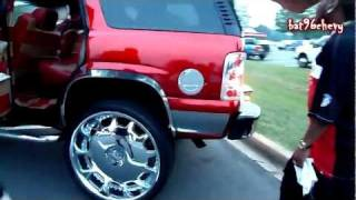"""Candy Red Chevy Tahoe On 30"""" DUB Mogul Rims HD"""