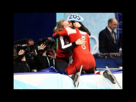 Canadian speed skater Charles Hamelin  Gold Medal Kiss Sochi 2014
