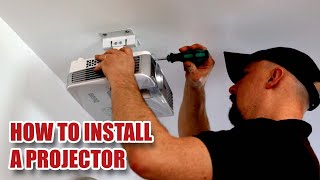 """How to Install a Projector on a Ceiling with 90"""" Screen - Detailed Install & Projector Set-up [49]"""