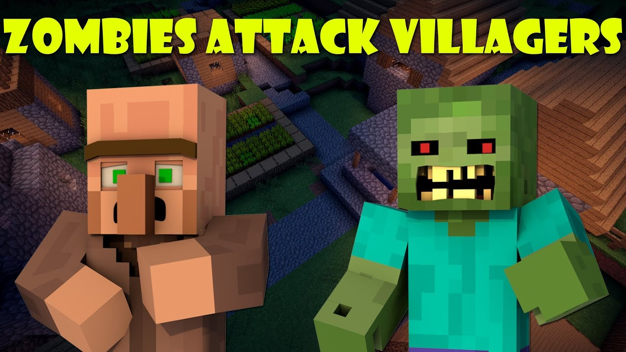 When Zombies Attack Villagers Minecraft Youtube