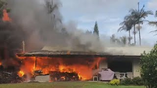 Buildings in path of Kilauea volcano lava destroyed