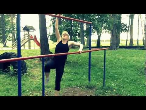 Girl's first parkour training