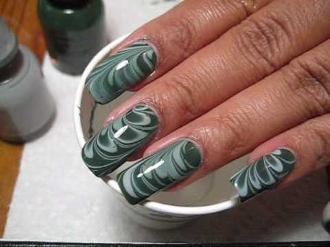 Green & Grey Water Marble Nail Art Tutorial - YouTube