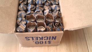 Treasure Hunting $100 Box Of Customer Wrapped Nickel Rolls