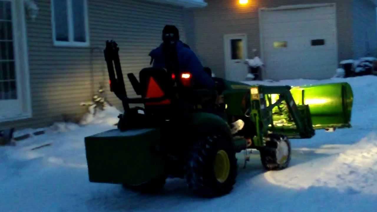 John Deere 1026r Loader Snow Plow : John deere r plowing snow youtube