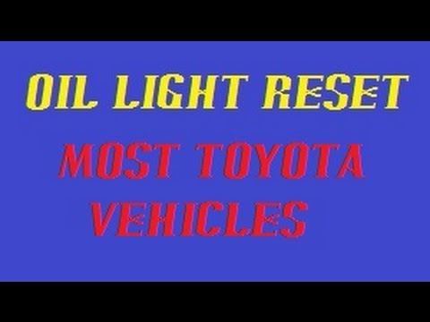 Oil/maintenance reset for most Toyota vehicles.