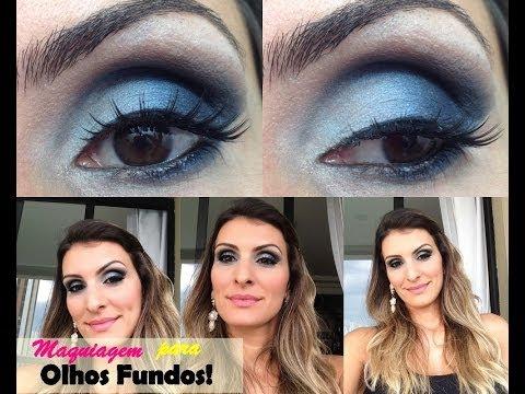 Maquiagem para olhos fundos com degradê de azul..By Nati Nahas