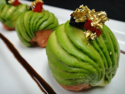 Amazing Edible Art!  Spicy Tuna Bon Bon with 24K Gold Flakes - Master Chef Hiro Terada.