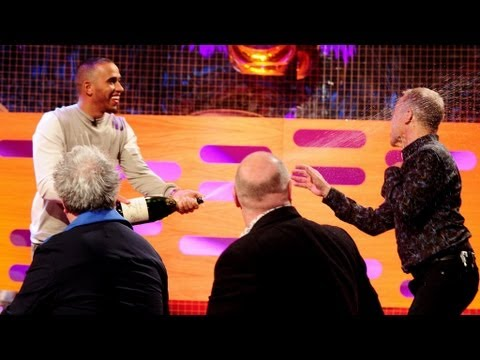 Lewis Hamilton sprays Graham with champagne - The Graham Norton Show - Series 13 Episode 4 - BBC One