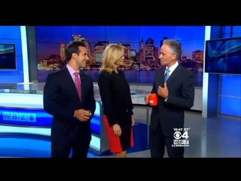 Meteorologist Barry Burbank Holds Coffee Cup Upside Down on Live WBZ Newscast