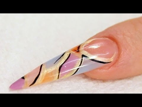 Mosaic Stiletto Gel Nail Tutorial Video by Naio Nails