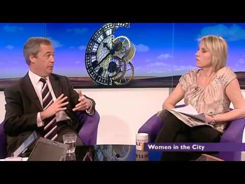 BBC Daily politics, UKIP Nigel Farage says women as capable as men in The City