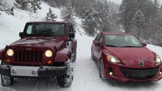 2013 Mazda3 vs Jeep Wrangler Snowstorm Winter Tire Mashup Test videos