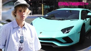 Justin Bieber Takes His New $300,000 Lamborghini Out For A Coffee Run On The Sunset Strip 3.6.18