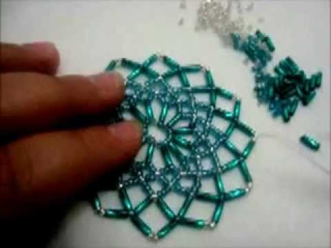 tuto détaillée du napperon en perles Tuto detailed beaded placemat