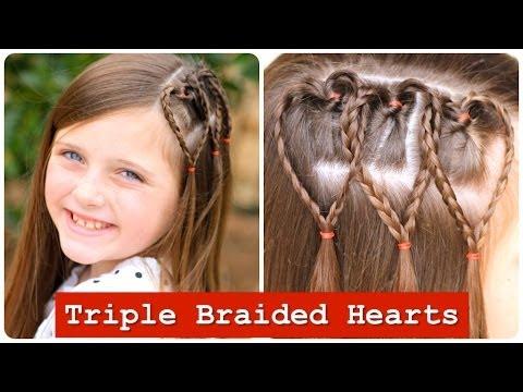 Triple Braided Hearts | Valentines Day Hairstyles - Háromszoros szív alakú fonott frizura