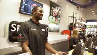 To celebrate the start of the Raptors&#39; 2014-15 season, Patrick Patterson trades in his basketball jersey for a <b>Sport</b> Chek staff...</div><div class=