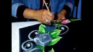 Pintura Sobre Telas- Tulipan Azul.wmv