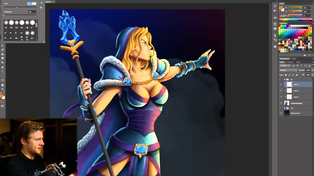 Add lighting fx to your photoshop painting youtube for Draw with jazza mural